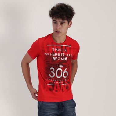 PLAYERA-MODA-ROJO-BRILLANTE-MANGA-CORTA-CUELLO-REDONDO-ORANGE
